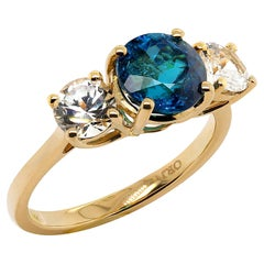 Blue Tourmaline and White Cambodian Zircon Cocktail Ring