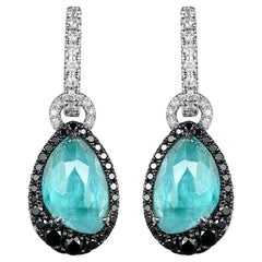 Blue Tourmaline Black Diamond Dangle Earring in 18K Rhodium Black and White Gold