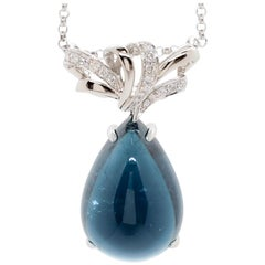 Blue Tourmaline Cabochon Pear Shape and White Diamond Necklace in Platinum