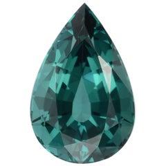 Blue Tourmaline Ring Gem 3.86 Carat Pear Shape