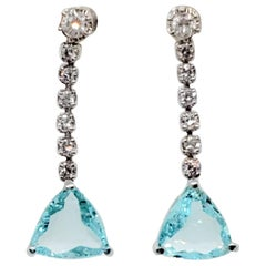 Blue Tourmaline Trillion and White Diamond Dangle Earrings in Platinum