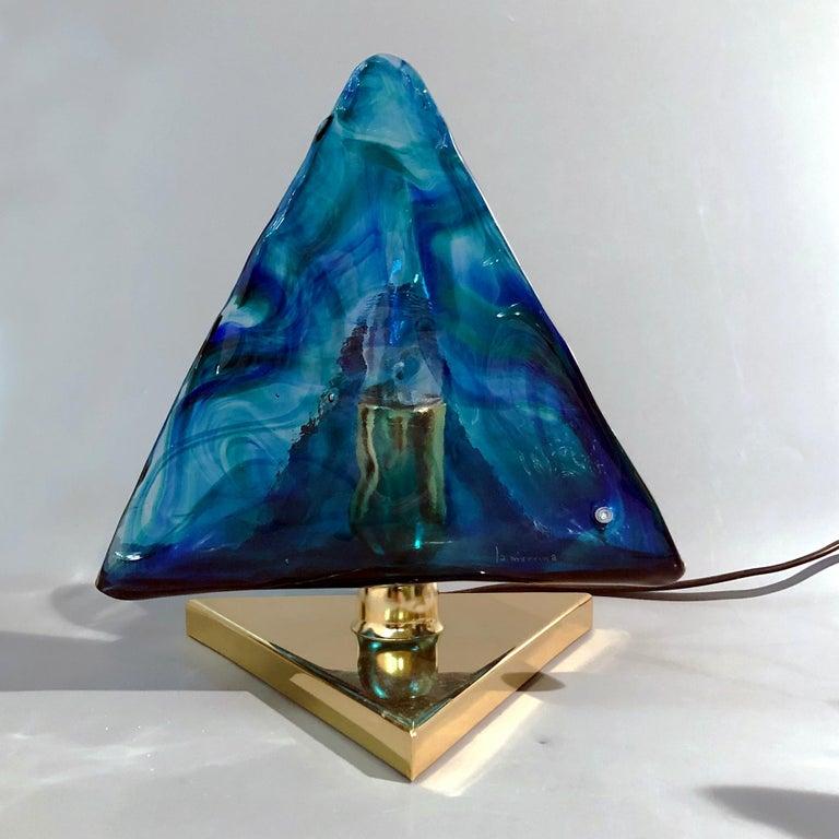 Blue Triangular Murano Glass Table, Nightstand Lights by La Murina, Italy, 1980s 3
