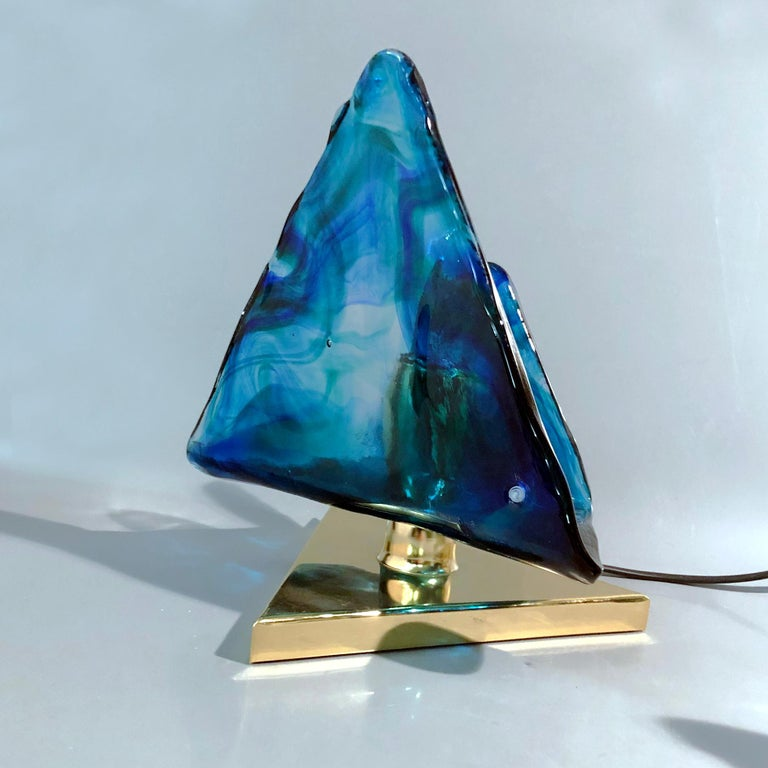Blue Triangular Murano Glass Table, Nightstand Lights by La Murina, Italy, 1980s 4