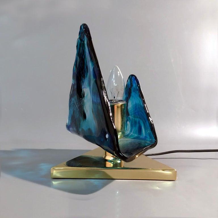 Blue Triangular Murano Glass Table, Nightstand Lights by La Murina, Italy, 1980s 5