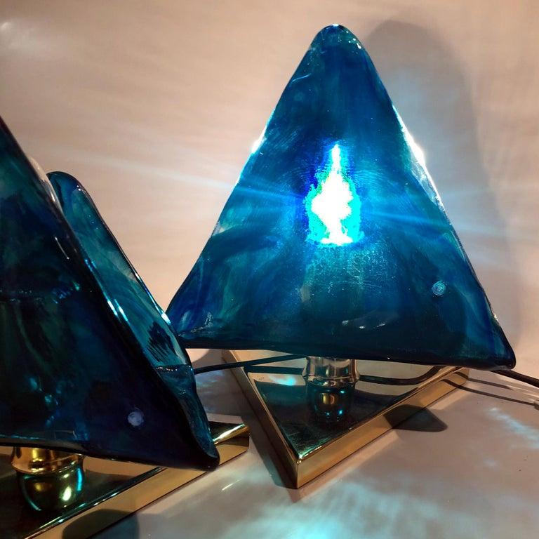 Blue Triangular Murano Glass Table, Nightstand Lights by La Murina, Italy, 1980s 7