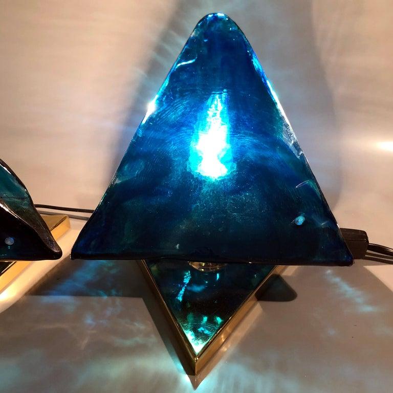 Blue Triangular Murano Glass Table, Nightstand Lights by La Murina, Italy, 1980s 8