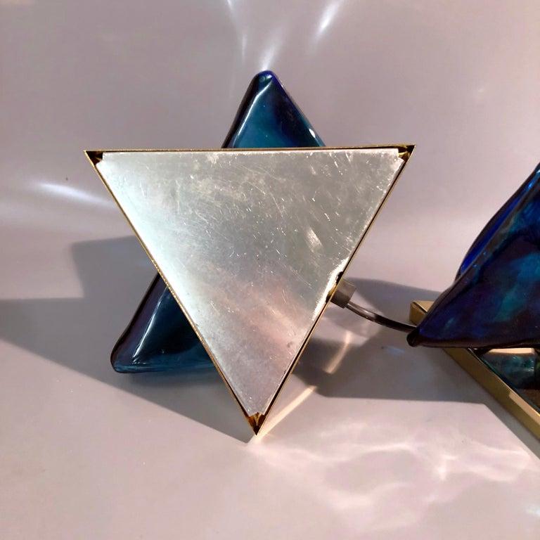 Blue Triangular Murano Glass Table, Nightstand Lights by La Murina, Italy, 1980s 9