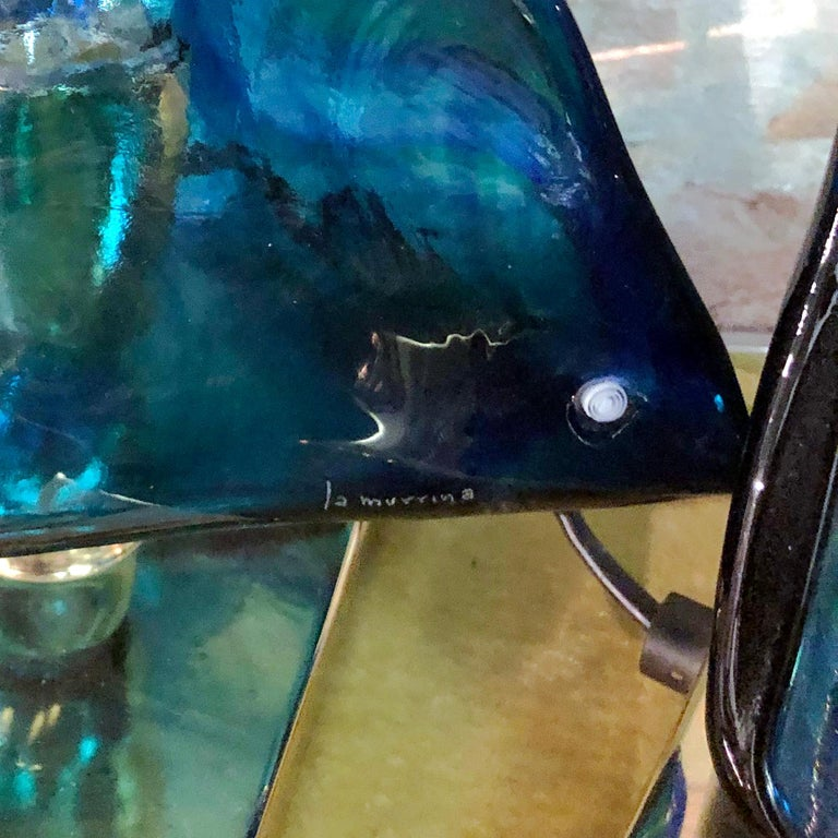 Blue Triangular Murano Glass Table, Nightstand Lights by La Murina, Italy, 1980s 13