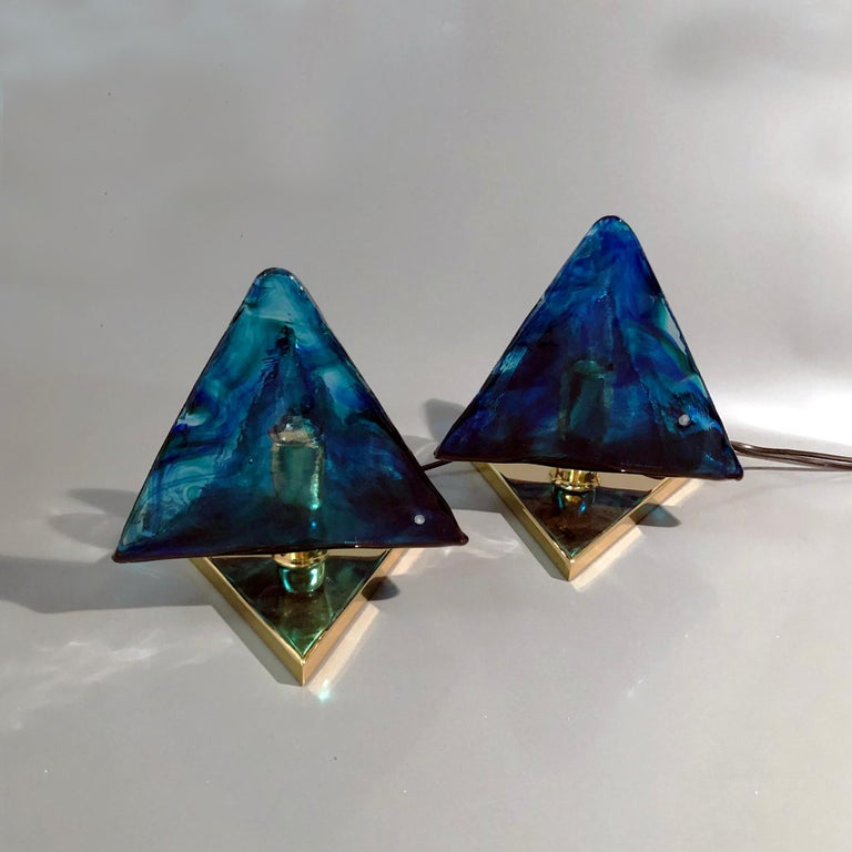 Other Blue Triangular Murano Glass Table, Nightstand Lights by La Murina, Italy, 1980s