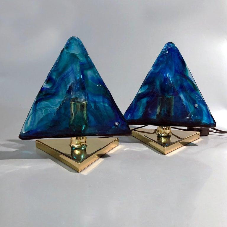 Italian Blue Triangular Murano Glass Table, Nightstand Lights by La Murina, Italy, 1980s