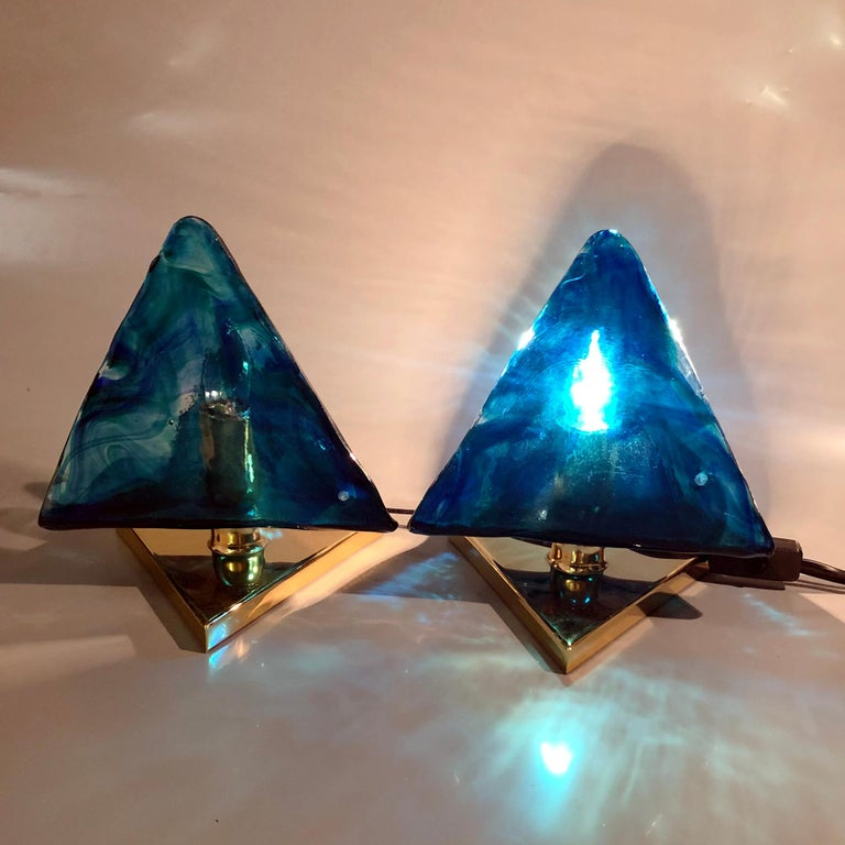 Blue Triangular Murano Glass Table, Nightstand Lights by La Murina, Italy, 1980s 2