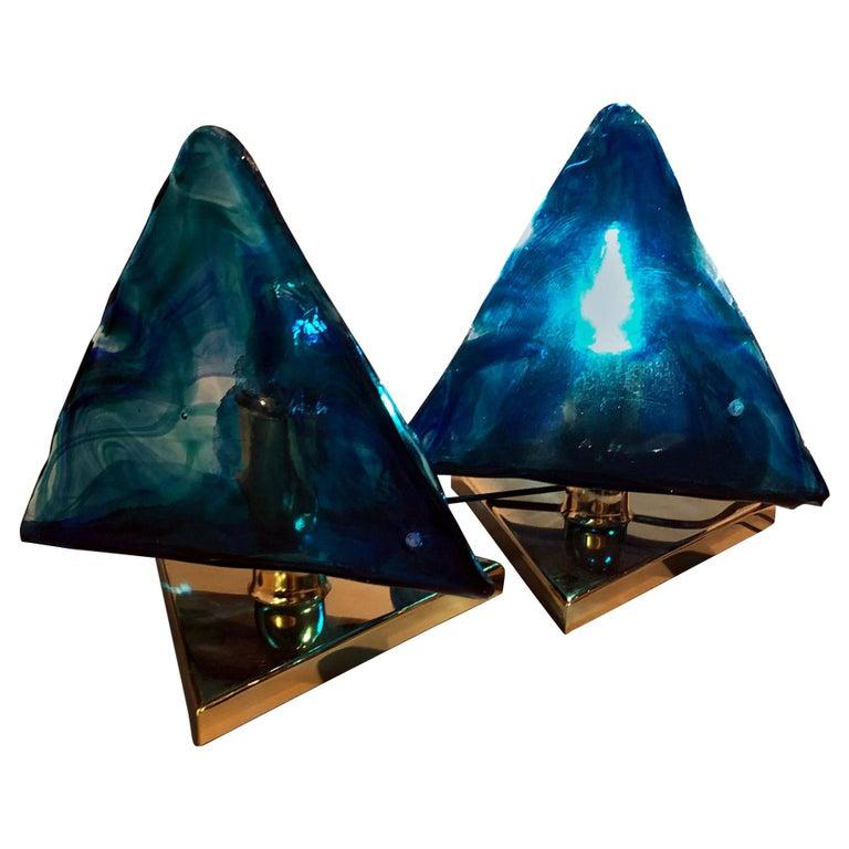 Blue Triangular Murano Glass Table, Nightstand Lights by La Murina, Italy, 1980s
