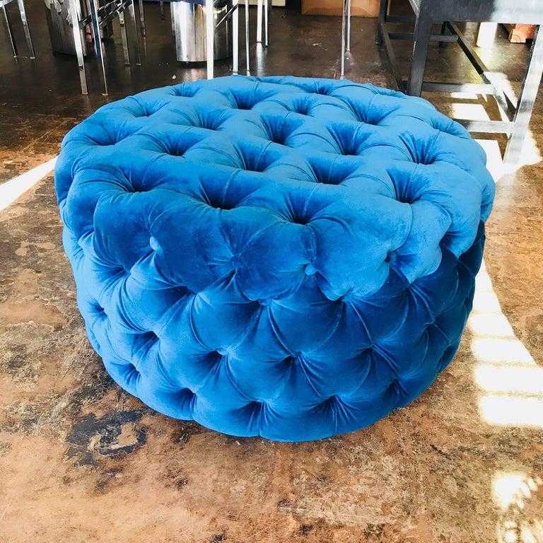 Hollywood Regency Blue Tufted Velvet Round Ottoman, Custom For Sale