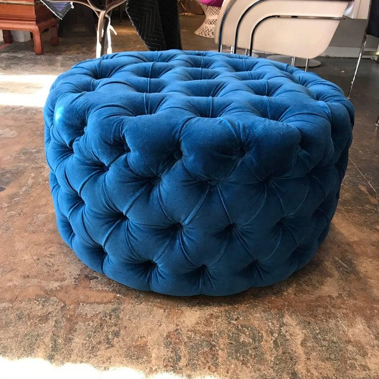 Contemporary Blue Tufted Velvet Round Ottoman, Custom For Sale