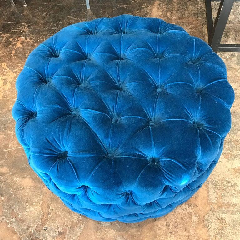 Blue Tufted Velvet Round Ottoman, Custom For Sale 1