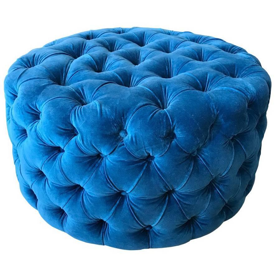 Blue Tufted Velvet Round Ottoman, Custom