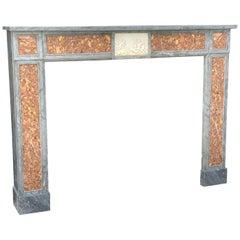 Blue Turquin Marble Fireplace, Arrabida and Statuary White Breccia
