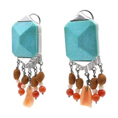 Blue Turquoise 0.13 Carat Diamonds Corals White Gold Earring