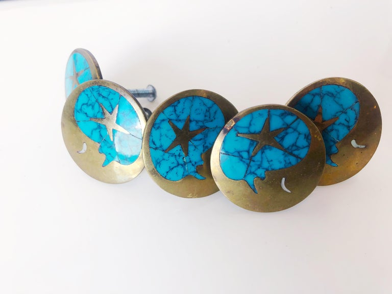 Mid-Century Modern Vintage Blue Turquoise and Brass Drawer Pulls by Los Castillos, Mexico, c. 1960s