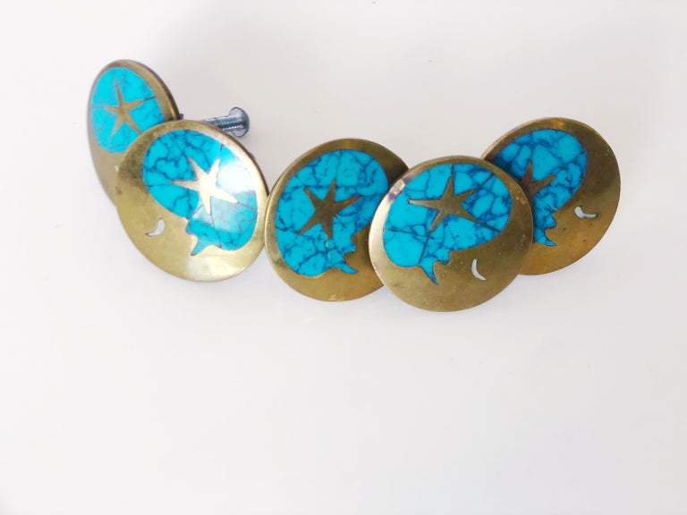 Mexican Vintage Blue Turquoise and Brass Drawer Pulls by Los Castillos, Mexico, c. 1960s