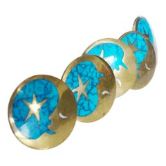 Vintage Blue Turquoise and Brass Drawer Pulls by Los Castillos, Mexico, c. 1960s