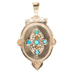 Blue Turquoise Cabochon and Seed Pearl Vintage Pendant in 9 Carat Yellow Gold