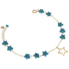 Blue Turquoise Stars 9 Karat Rose Gold Star Charm Bracelet Handcrafted in Italy