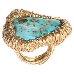 Blue Turquoise stone One-of-a-Kind Statement Ring by Sheila Westera