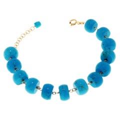 Blue Turquoises 9 Karat Rose Gold Bracelet Handcrafted in Italy
