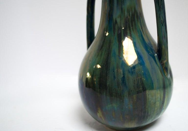 Art Nouveau Blue Two Handled Cytere Luser Vase For Sale