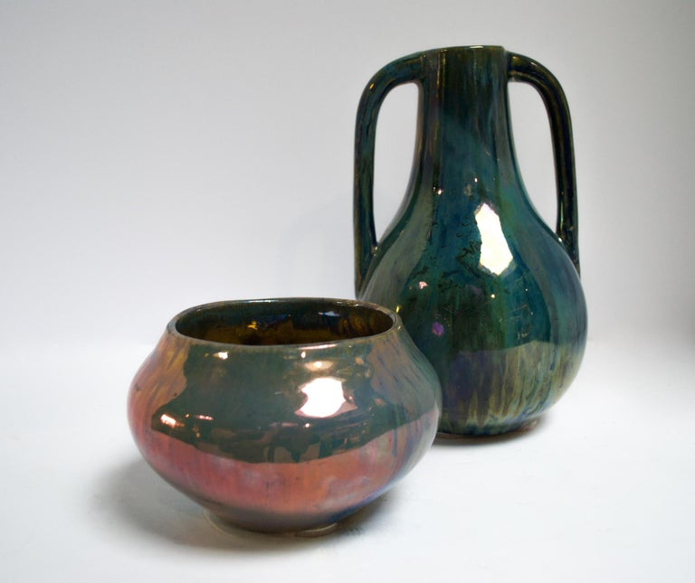 Blue Two Handled Cytere Luser Vase In Good Condition For Sale In Bloomfield Hills, MI