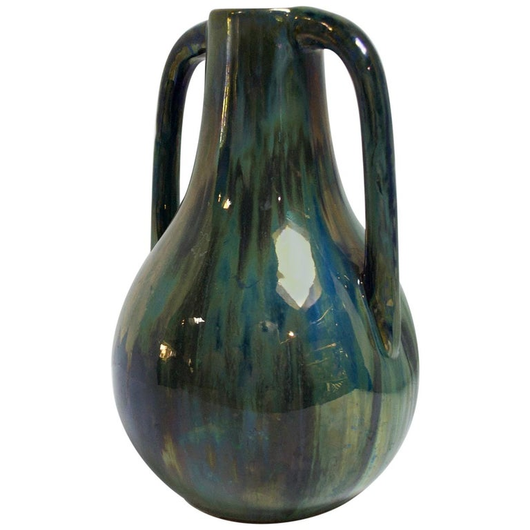 Blue Two Handled Cytere Luser Vase For Sale