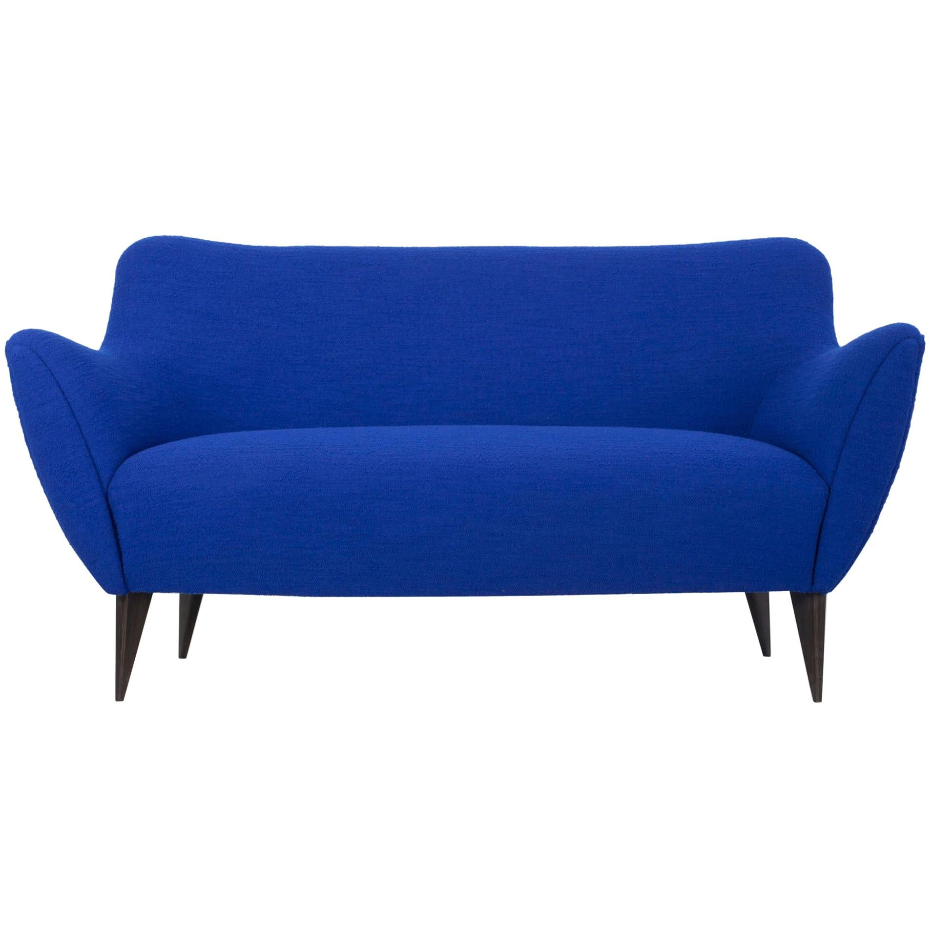 Blue Two-Seat Sofa, Design by Giulia Veronesi, ISA Bergamo, Italy, 1950s