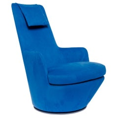 Blue Ultra Suede High Back Swivel Lounge Chair, Bensen