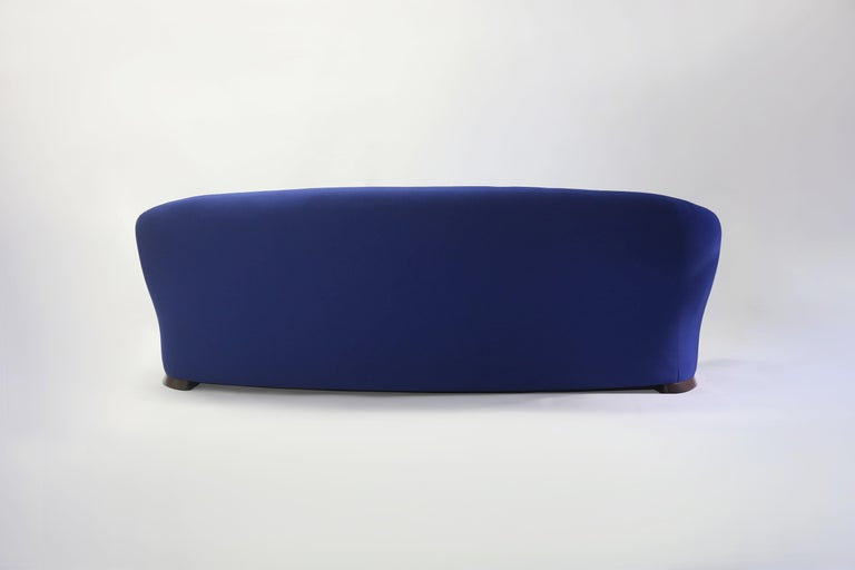 Blue Upholstered Curved Sofa with Wood Base and Loose Seat Cushion on Wood Base 2