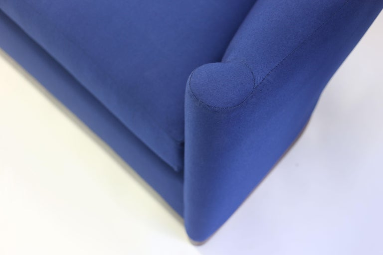 Blue Upholstered Curved Sofa with Wood Base and Loose Seat Cushion on Wood Base 5