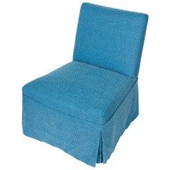 Blue Upholstered Slipper Chair