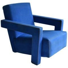 Blue 'Utrecht' Chair by Dutch Gerrit Rietveld for Cassina 1980s Italy