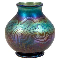 Blue Vase Decorated Art Glass Louis Comfort Tiffany New York, 1900