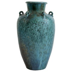 Blue Vase in Flamed Stoneware, 20th Century