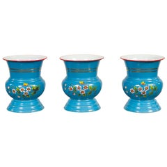 Blue Vases with Painted Floral and Butterfly Decor and Metal from Czechoslovakia