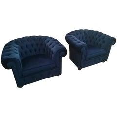 Blue Velvet Armchairs