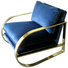 Blue Velvet Chair by John Mascheroni for Swaim Originals, USA, 1960s