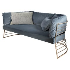 Blue Velvet Contemporary Single Sofa by Hessentia with Frosted Brass Structure