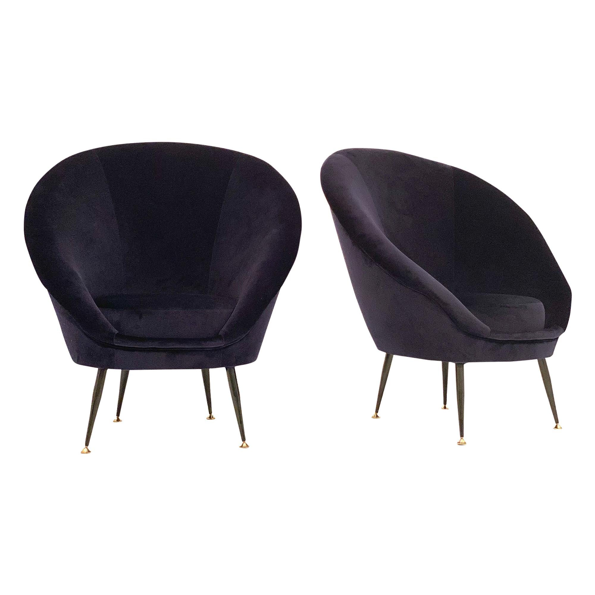 Blue Velvet Italian Club Chairs