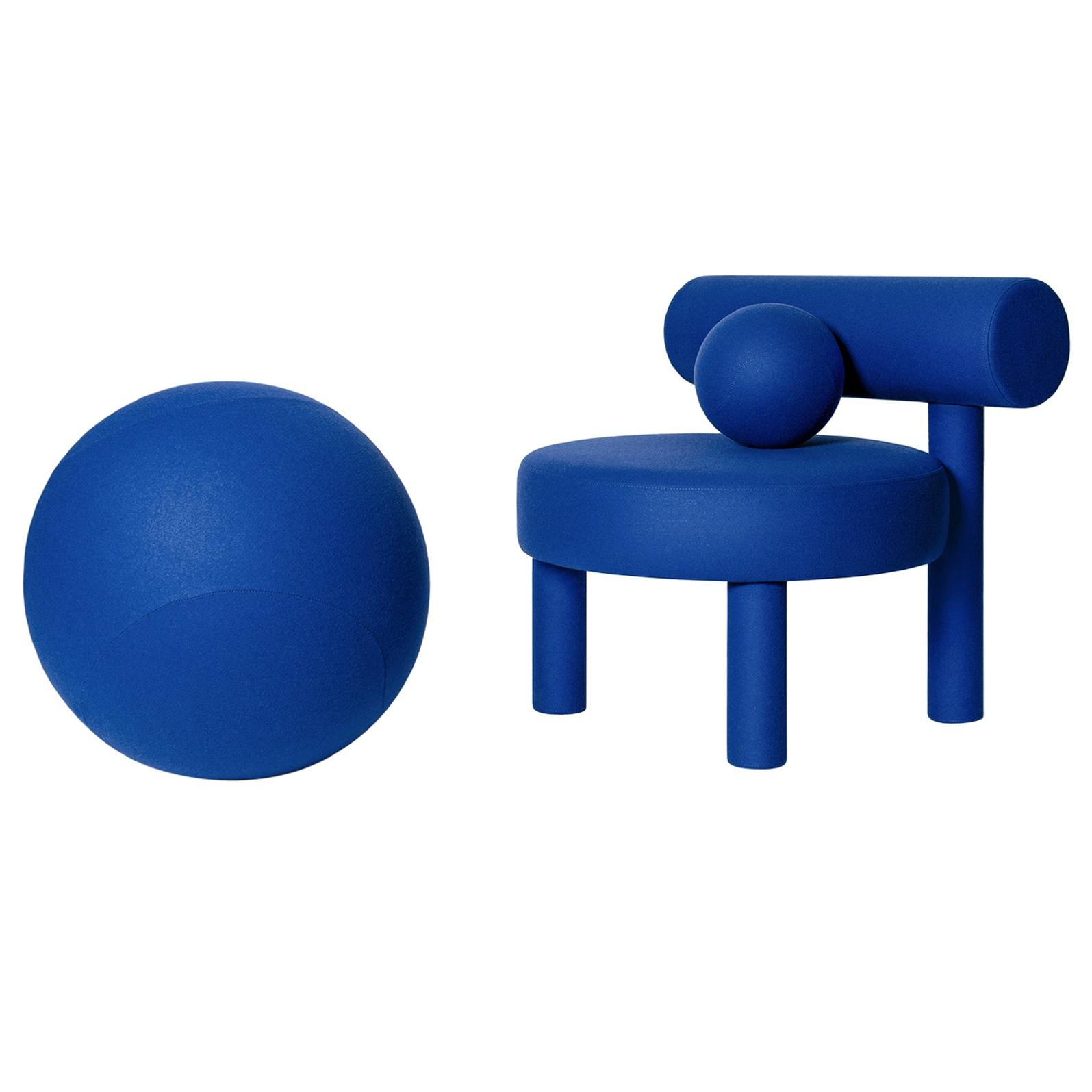 Blue Velvet Low Chair and Spheric Stool Set by NOOM