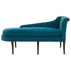 Blue Velvet Meridienne Chaise Lounge