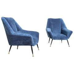 Blue Velvet Mid-Century Italian Pair of Armchairs Brass Gold Feet, 1950s