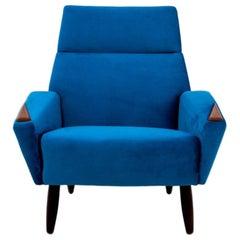 Blue Velvet Modern Armchair, Danish Design, 1970s