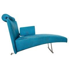 Blue Velvet Modern Memphis Chaise Lounge